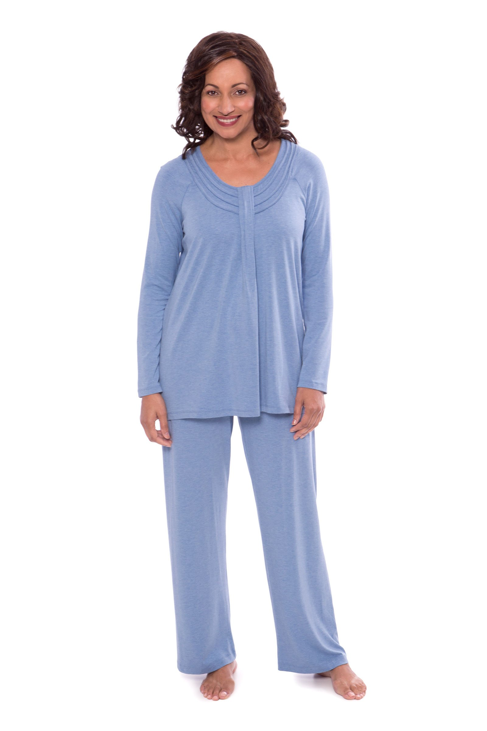 Women's Long Sleeve PJs in Bamboo Viscose (Replenish, Heather Ice Blue, X-Large) Cool Get Well Hospital Gifts for Her WB0006-2U2-XL
