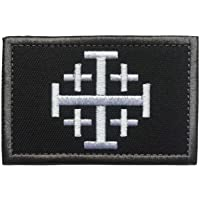 """SpaceAuto Jerusalem Cross Crusader Order Holy Sepulchre Tactical Morale Cross Embroidered Patch 3.14"""" x 1.97"""" Black…"""