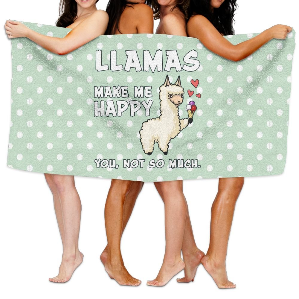 Dianqusha Llamas Make Me Happy You Not So Much Women's Adjustable Microfiber Plush Spa Bath Shower Wrap For College Dorms, Pools, Gyms, Beaches, Locker Rooms, Bathroom