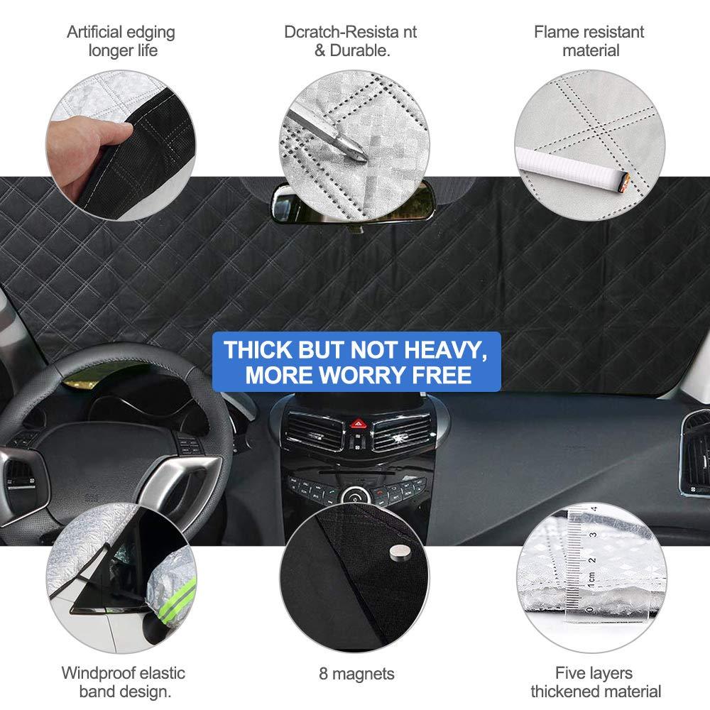 FREESOO Copri Parabrezza Magnetico Impermeabile Telo Parabrezza Copriparabrezza con 8 Calamite Anti-UV Anti-Ghiaccio Universale