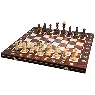 Handmade European Wooden Chess Set with 16 Inch Board and Hand Carved Chess Pieces: Toys & Games
