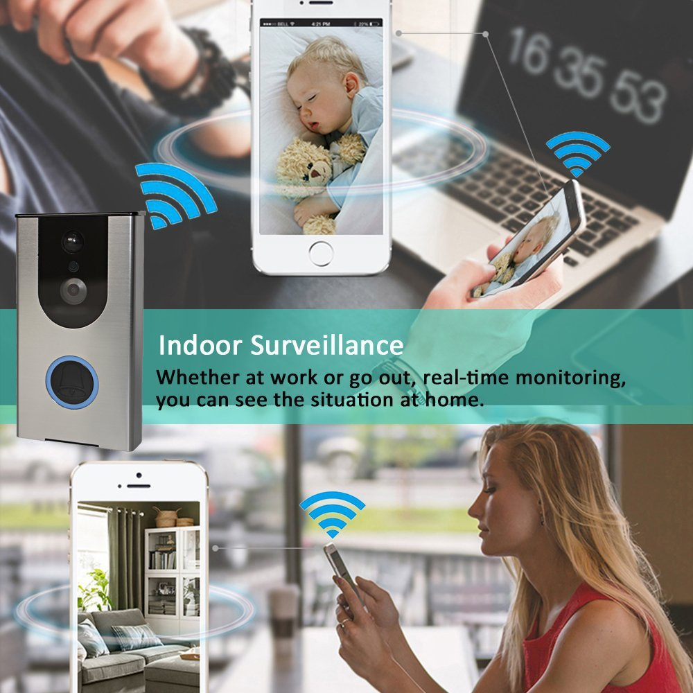 Wi-Fi Enabled Video Doorbell Wireless Door Bell Waterproof Rechargeable 16G  Smart Video Doorbell Camera PIR Motion Sensor,Night Vision,Tamper