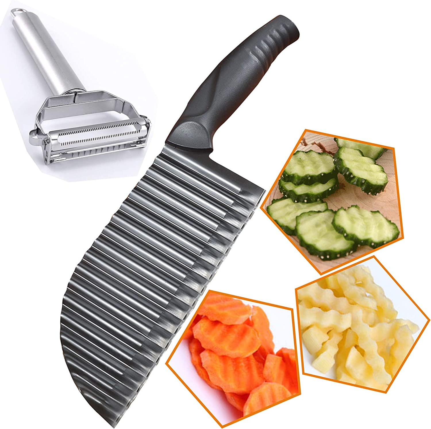 Premium Potato Crinkle Cutter, Stainless Steel Waffle Fly Cutter with a sturdy Julienne Peeler, Wavy Vegetable Slicer Kitchen Chopper Knife for Baby Food veggie Salad Carrots French Fries, Black