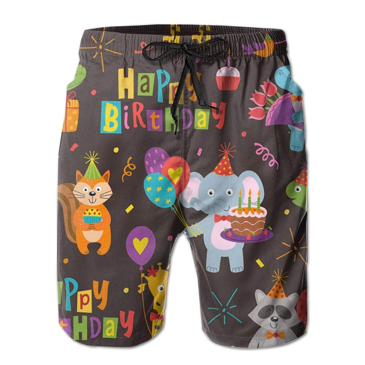 SARA NELL Mens Shorts Funny Animals Happy Birthday Quick Dry Swim Trunks Beach Board Shorts