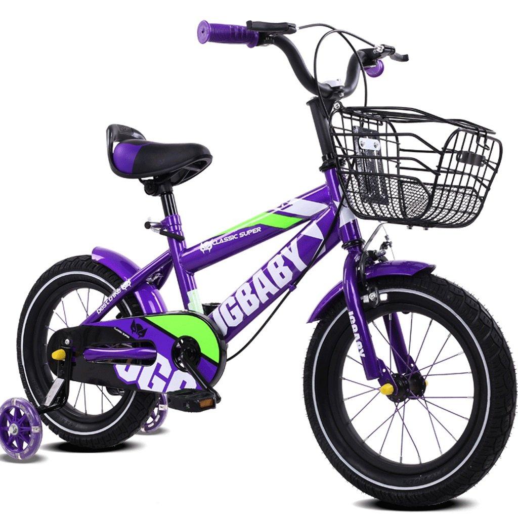 DGF 男の子と女の子のための子供の自転車3-12歳のベビーカーの子供の自転車 (色 : Purple, サイズ さいず : 16 inches) B07F3W6B8K 16 inches|Purple Purple 16 inches