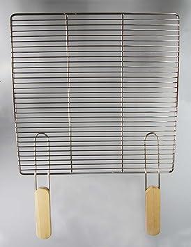 Acero inoxidable parrilla 38 x 28, 5 cm + 2 asas, parrilla ...
