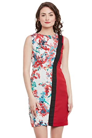 a112d0ae8250 THE VANCA Women Printed Sleeveless Bodycon Dress with Side Contrast Panels  for