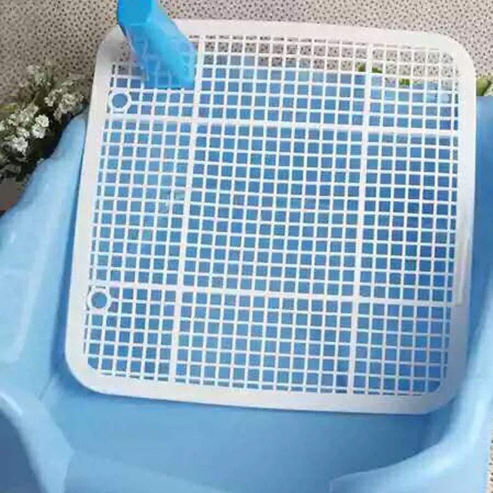 POPETPOP Puppy Potty Trainer Anti-splash Pee Basin Indoor Fence Toilet Blue Pet Dogs Litter Training Bedpan 45x42x15cm