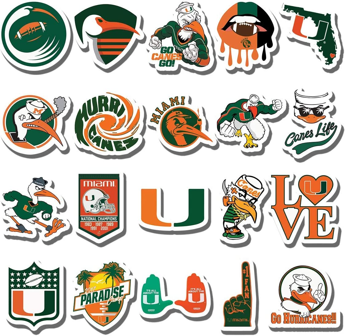 20 PCS Stickers Pack Miami Aesthetic Hurricanes Vinyl Colorful Waterproof for Water Bottle Laptop Bumper Car Bike Luggage Guitar Skateboard