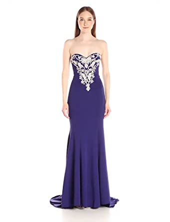 Jovani Women's Strapless Fitted Prom Dress, Purple, 00 at