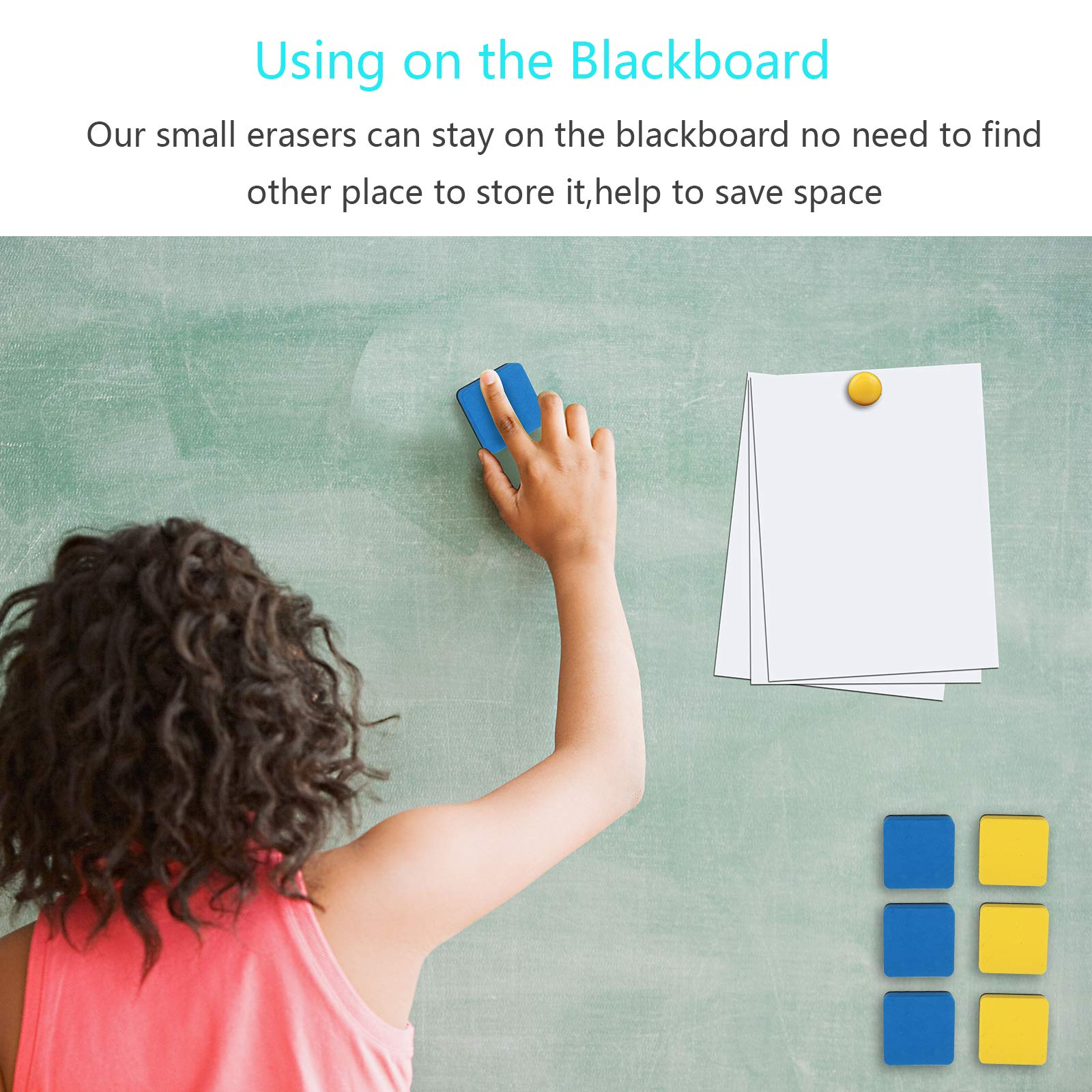 Dry Erase Eraser,LANMOK 36pcs Square Whiteboard Erasers Magnetic Erase with 12pcs Magnet Buttons for Kids Teachers Home Classroom Office