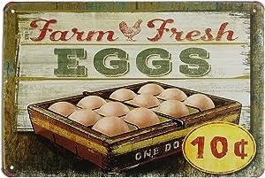 ERLOOD Farm Fresh Eggs Metal Tin Sign Decor Art Chicken Coop Kitchen Cottage Farm 12 x 8
