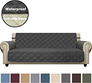 CHHKON Sofa Cover Waterproof with Anti-Skip Dog Paw Print 100% Quilted Furniture Protector Sofa Slipcover for Children, Pets for Leather Couch (Dark Gray, XL Sofa)