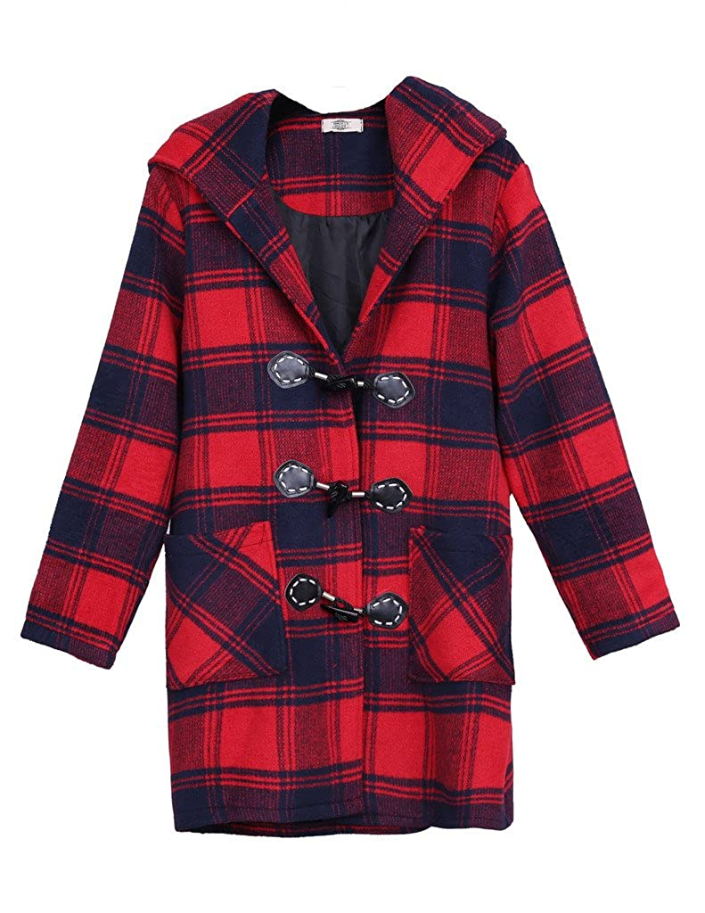 ZANLICE Women's Loose Plaid Hooded Wool Blend Toggle Coat Red L XL 1X 2X