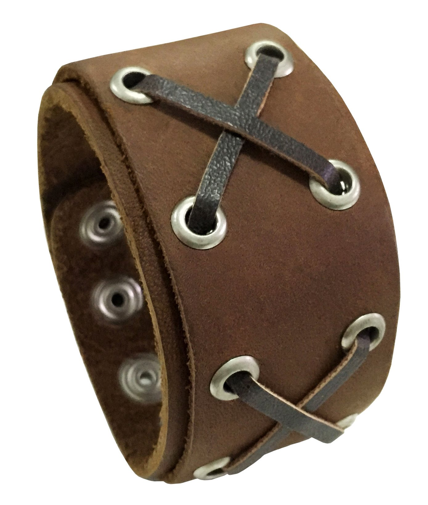D'SHARK 1.8'' Wide X Design Biker Leather Buckle Bangle Bracelet Cuff Wristband for Unisex - Brown
