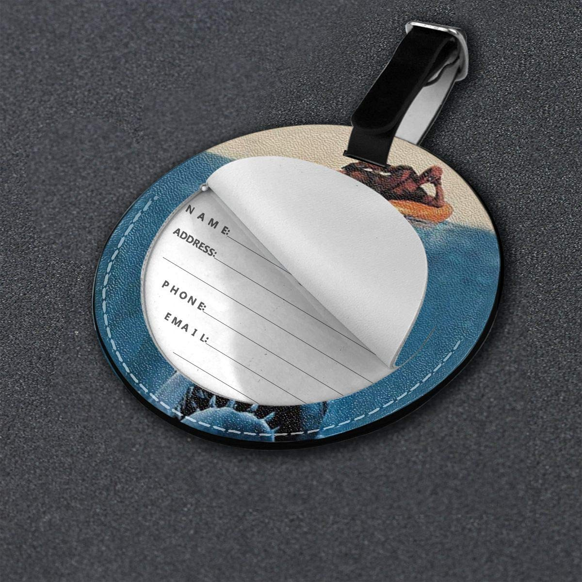 Simoner Shark Round PU Leahter Luggage Tags Privacy Protection Travel Bag Labels Suitcase Tags