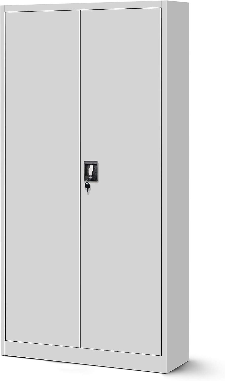 Jan Nowak by Domator24 Bureau avec Compartiment Secret C001D Armoire de Rangement m/étallique t/ôle dacier rev/êtement en Poudre 185 cm x 90 cm x 45 cm Anthracite//Bleu