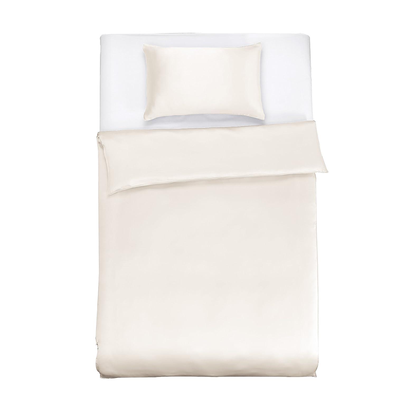 LilySilk Seide Bettwäsche-Set 2 teilig Bettbezug 135x200cm Kissenbezug 60x80cm Seide Unifarben 19 Momme-Elfenbein