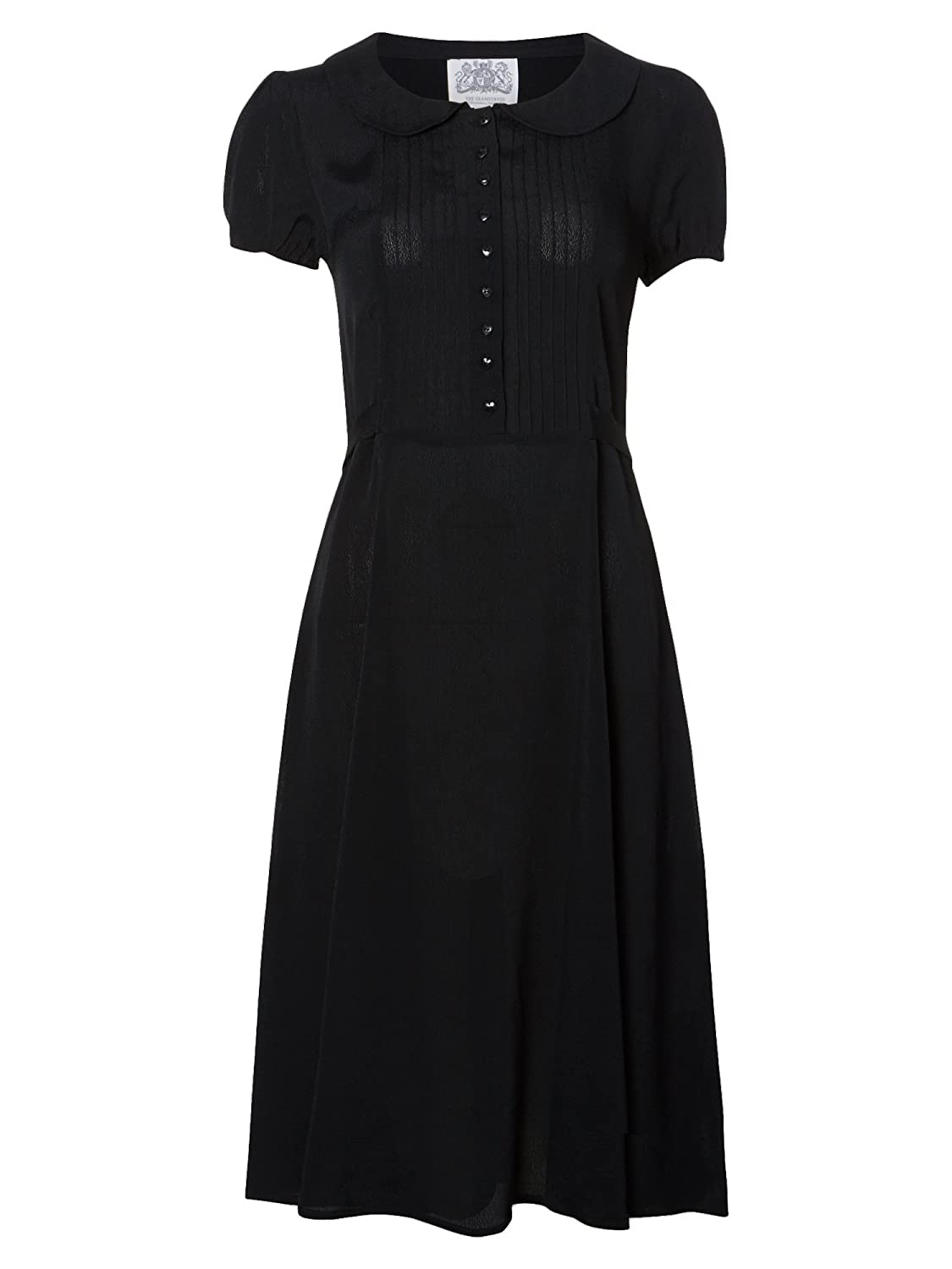1940s Tea Dresses, Mature, Mrs. Long Sleeve Dresses 1940s Authentic Vintage Inspired Dorothy Dress in Black �79.00 AT vintagedancer.com