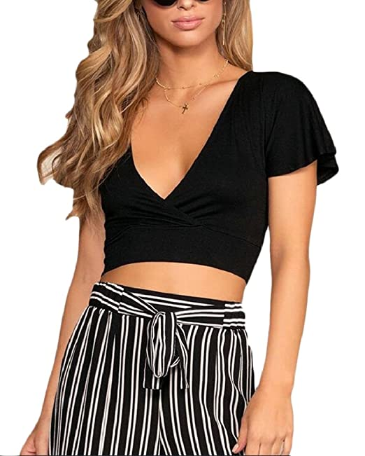 0568c8941be ONTBYB Womens Solid Crop Tops Short Sleeve Knot Tie Back V Neck Tops Black  XS