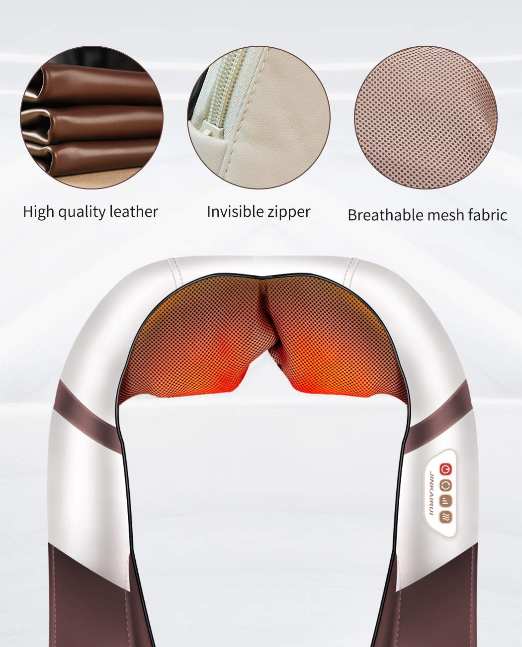 Pressure Point Neck Massager – Deep Tissue Kneading Massage Shoulder Neck and Back – Massage by 10 Nodes Free Hand Design with Heat 120 Degree