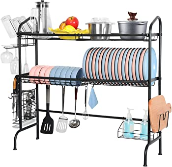 Weluvfit 2 Tier Large Stainless Steel Non-slip Dish Rack
