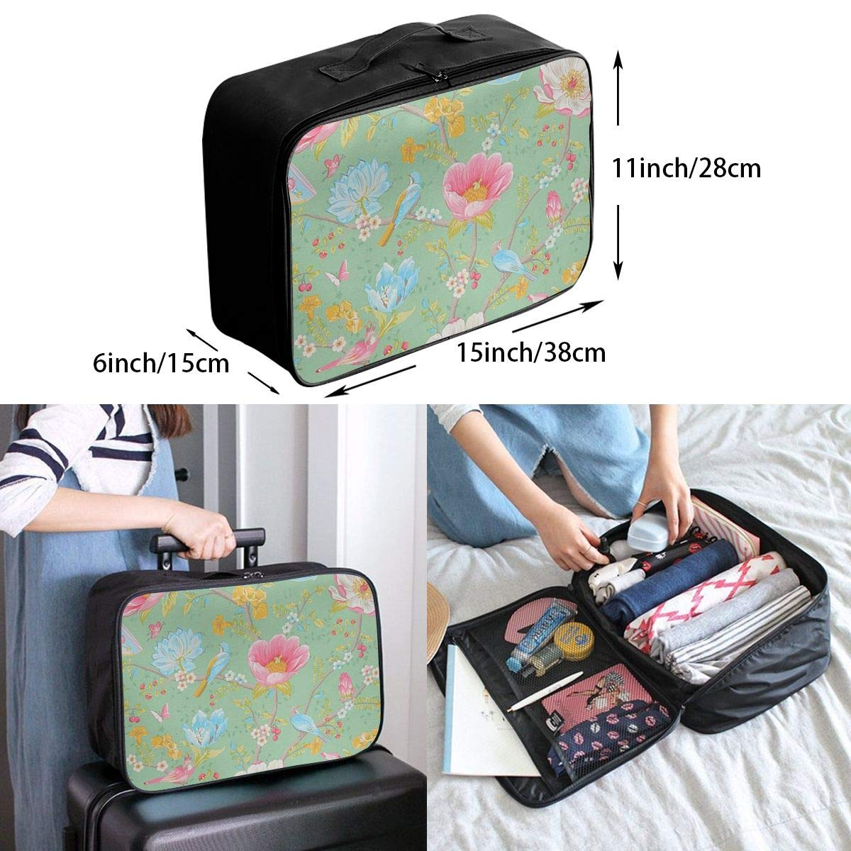 Travel Luggage Duffle Bag Lightweight Portable Handbag Flower Pattern Large Capacity Waterproof Foldable Storage Tote
