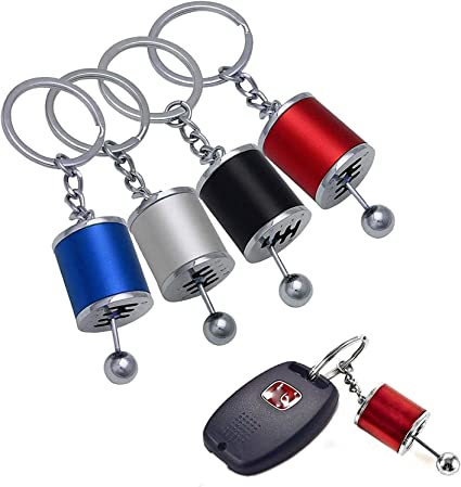 Metal Gear Box Shifter Key Chain Fob Ring For Car 6-Speed Model Keychain black