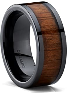 black ceramic flat top wedding band ring with real koa wood inlay 9mm comfort fit