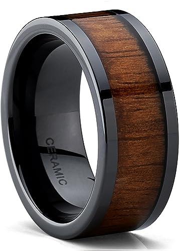 Titanium wood inlay wedding bands