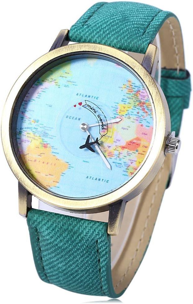 Leopard Shop - Reloj de Pulsera de Cuarzo con Esfera de mapamundi (Correa de Piel), Color Verde