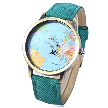 Leopard Shop - Reloj de Pulsera de Cuarzo con Esfera de mapamundi (Correa de Piel