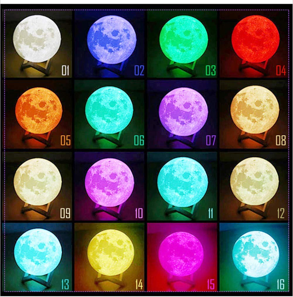 Large 3D Moon Lamp 5.9 Inch Fantasee 3D Moon Light 16 LED Colors Remote and Touch Control USB Rechargeable Lunar Nursery Night Light Novelty Gift for Kids Friends