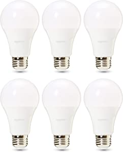 AmazonBasics Commercial Grade LED Light Bulb | 100-Watt Equivale, A21, Daylight, Dimmable, 6-Pack