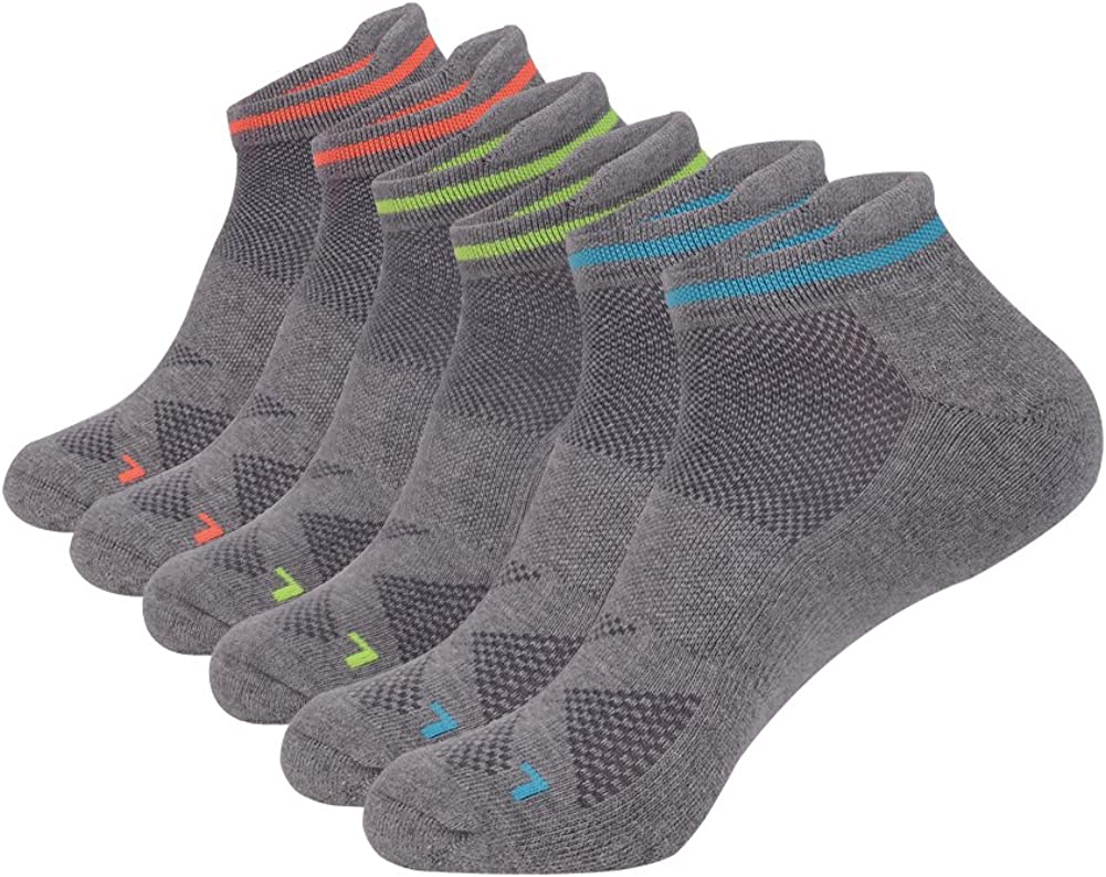 JOYNÉE Men's 6 Pack Athletic Cotton Breathable No Show Short Socks with Tab