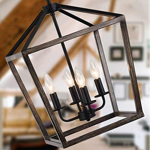 Lantern Oak Wrought Iron 4 Light