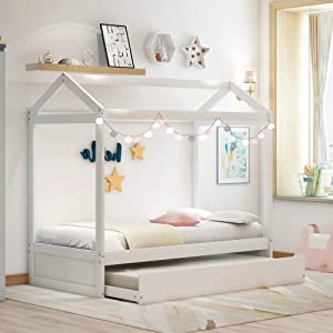 Merax Kids House Bed with Trundle, Twin Size Wood Bunk Bed Frame Can be Decorated for Kids, Teens, Girls, Boys