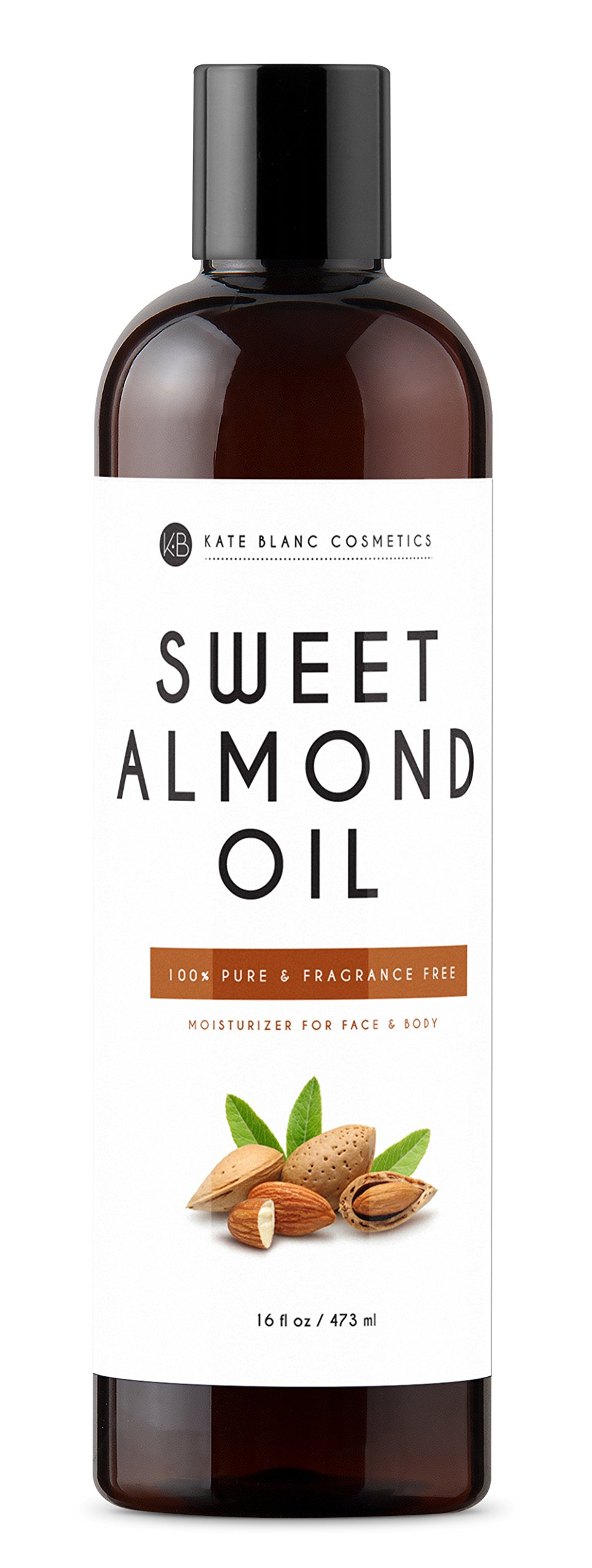 Sweet Almond Oil 16oz by Kate Blanc. 100% Pure, Cold Pressed, Hexane Free. Ideal for Face, Skin, Hair. Great as Massage Oil, Aromatherapy, and Carrier Oil. Smoother Skin, Softer Hair. 1-Year Guarantee by Kate Blanc Cosmetics