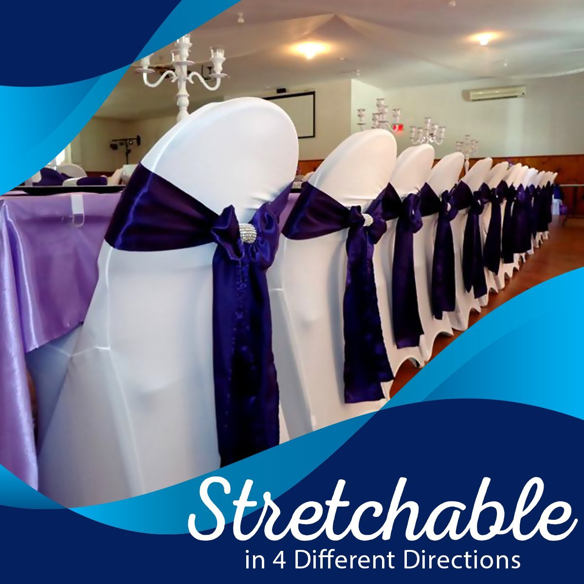 SPRINGROSE White Scuba Spandex Stretch Universal Wedding Chair Covers (set of 10). It is Made For Use on Folding and Banquet Chairs.