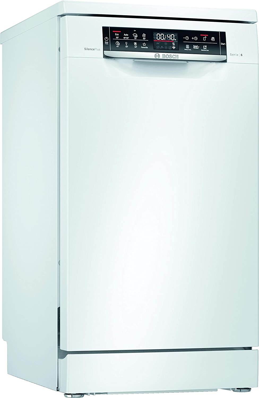 Bosch SPS6EMW23E Serie 6 - Lavavajillas independiente, A++, 45 cm, color blanco, 211 kWh/año, 10 MGD, SuperSilence, secado extra, VarioCajón Pro y Home Connect.