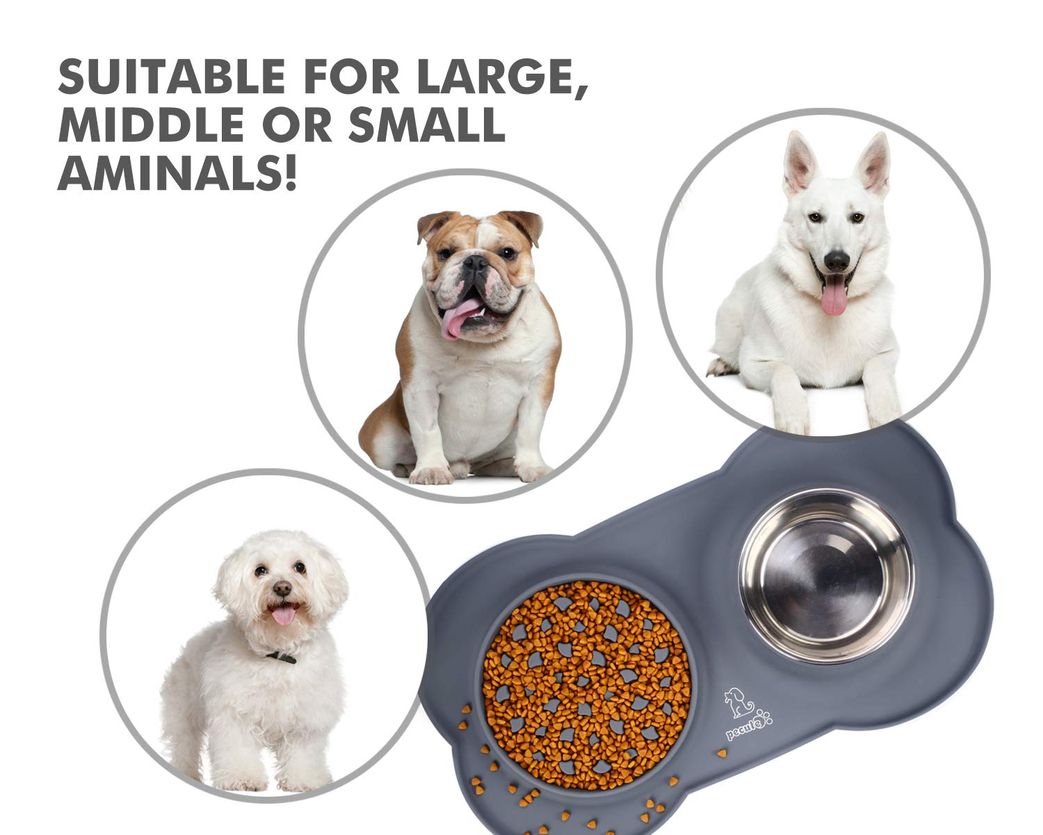 Pecute 3-in-1 Slow Eating Dog Bowls with Non Slip Mat - Safe Silicone Interactive Fun Slow Feeders for Dogs - Stainless Steel Bowls Non Spill Mats Tray - Great for Small Medium Dogs Cats Slow Feeding