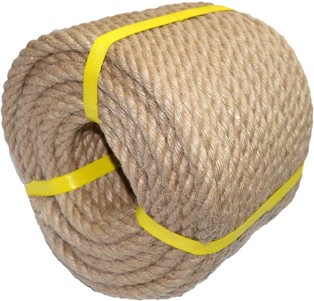 100% Natural Hemp Rope Twisted Strong Jute Rope 100 Feet 1/2 Inch 4 Ply Hemp Rope All Purpose Cord for Crafts, Home Decorative Landscaping Hanging Swing Rope