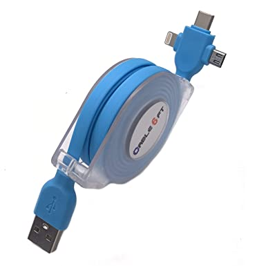 USB Cable Charger Extendable Retractable Cable for Wiko Rainbow Jam