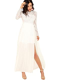 1002155d5f3 Amazon.com  ohyeah Women Solid Formal Lace Maxi Dress Long Sleeve ...