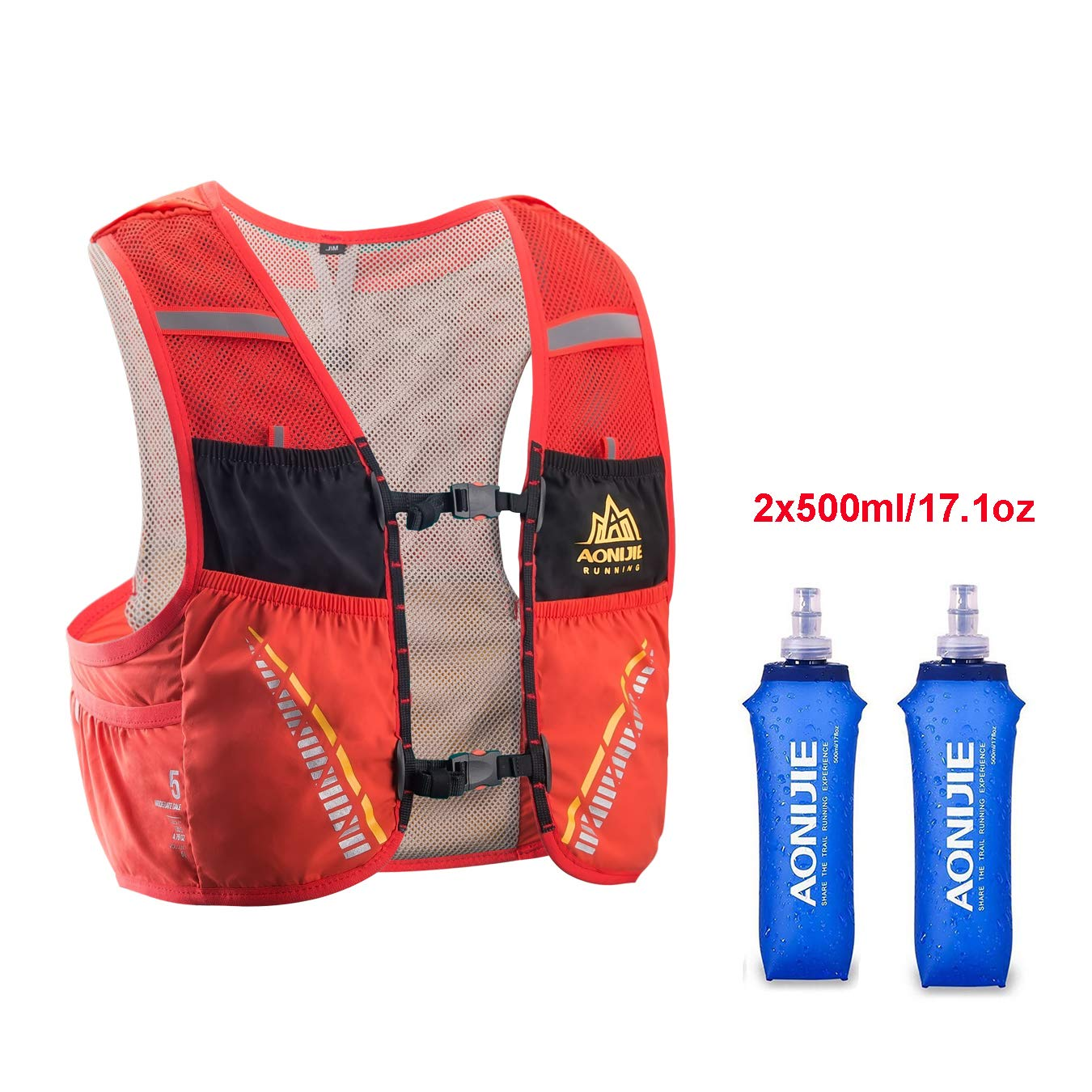AONIJIE Hydration Pack Backpack with 2x500ml Water Bottles,Lightweight 5L Outdoor Marathoner Running Race Hydration Vest for Cycling Hiking (Black&Red, S/M(29.5-33in))