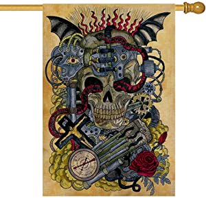 Shorping Seasonal Garden Flag, Garden Flag Bus Garden Flag Outdoor Garden Flag 28X40Inch Garden Flag Steampunk Skull with Retro Clock Gear Red for Garden Flag Joy Garden Flag Garden Flags for Kids