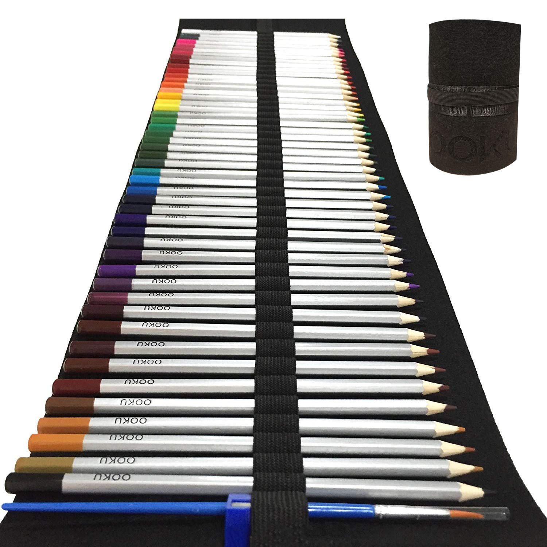 OOKU Watercolor Pencils Arist Set - 48 Dry Coloring Pencils/Wet Watercolor Painting - BONUS Wool Pencil Canvas Wrap, Watercolor Brush, Pencil Sharpener for FULL 51 Piece Kit