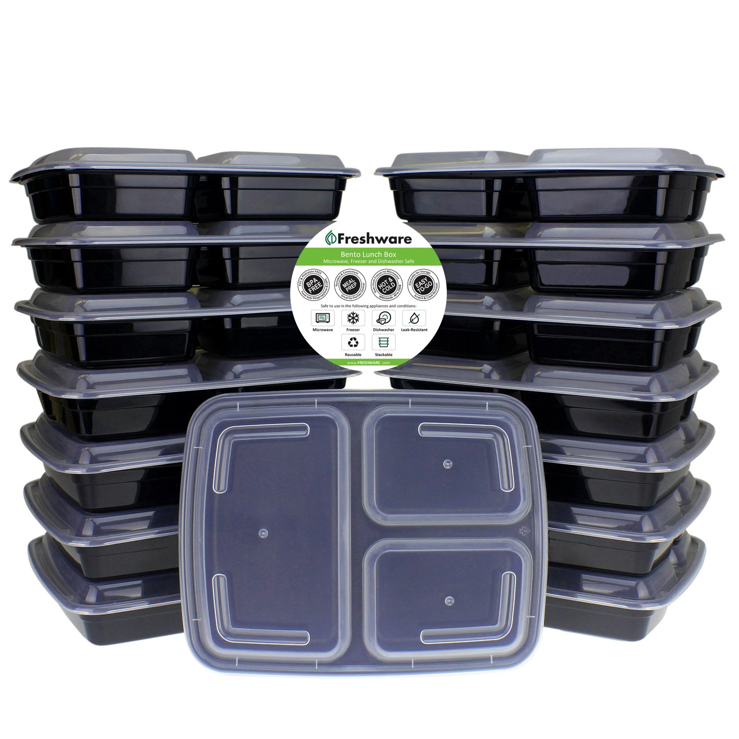 Freshware 15-Pack 3 Compartment Bento Lunch Boxes with Lids
