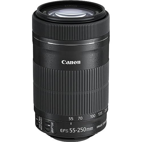 Canon Teleobiettivo Compatto, EF-S 55-250 mm F/4-5.6 IS STM, Nero