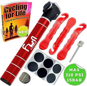 Mini Bomba DE Bici (Rojo) con Kit Reparador De Neumáticos Y Parche ...